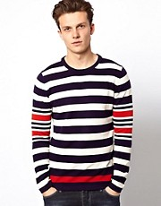 J Lindeberg Jumper With Breton Stripe