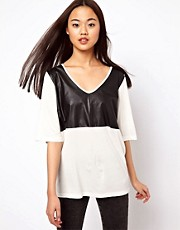 ASOS T-Shirt in Crepe with PU Trim