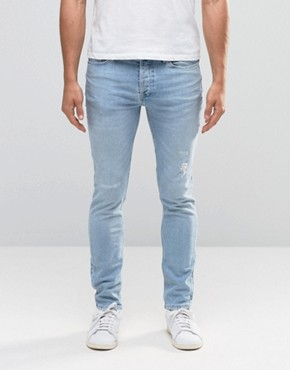 River Island Skinny Jeans In Light Wash Blue With Abrasions