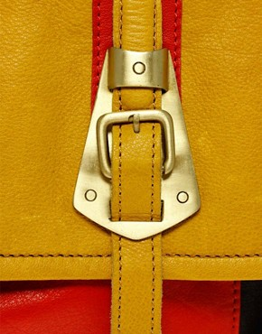 Image 2 of ASOS Leather Metal Buckle Satchel