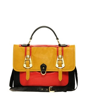 Image 1 of ASOS Leather Metal Buckle Satchel