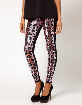 Image 4 ofASOS Premium Leggings with Leopard Sequins