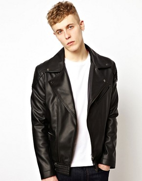 Image 1 ofASOS Faux Leather Biker Jacket