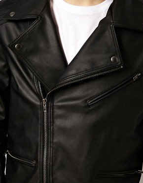 Image 3 ofASOS Faux Leather Biker Jacket