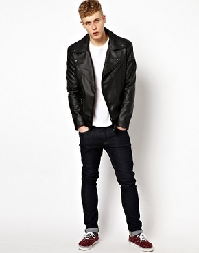 Image 4 ofASOS Faux Leather Biker Jacket
