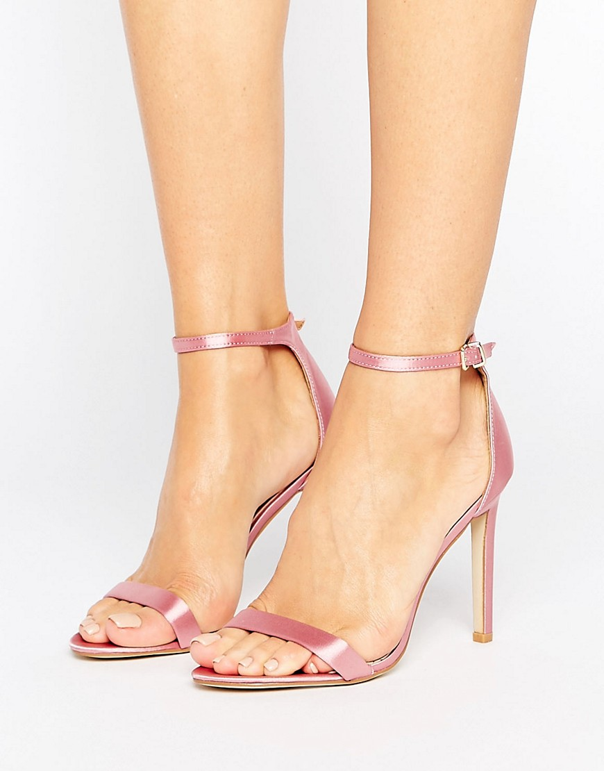 Public Desire Avril Pink Satin Barely There Heeled Sandals - Pink