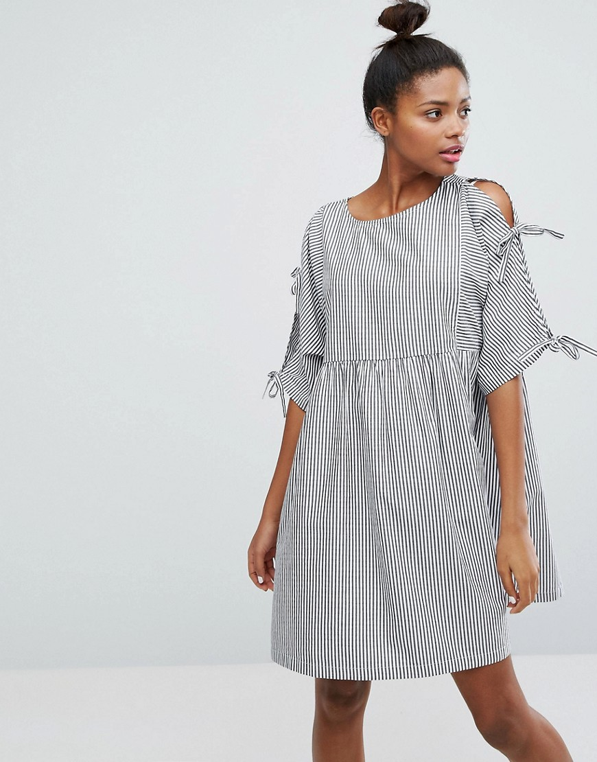 Monki Stripe Tie Sleeve Smock Dress - Multi