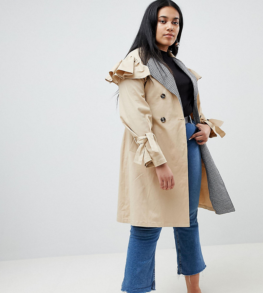 Lost Ink Plus - Trenchcoat mit Gingan-Kragen - Beige | Bekleidung > Mäntel > Trenchcoats | Beige | Denim - Ab | Lost Ink Plus
