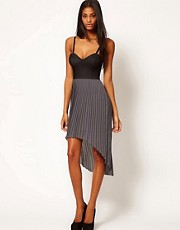 Motel Tegan Contrast Bustier Hi Lo Dress
