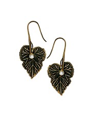 Sam Ubhi Leaf and Pearl Charm Earrings