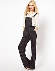 River Island - Salopette lunga a pois