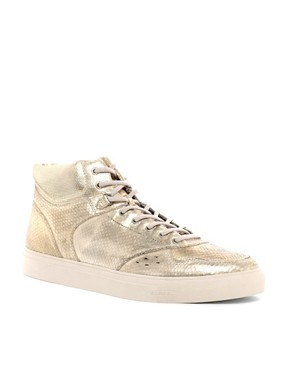 Image 1 ofDiesel Invasion Metallic Hi-Top Trainers
