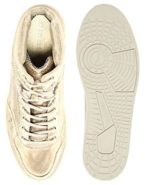 Image 3 ofDiesel Invasion Metallic Hi-Top Trainers