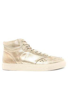 Image 4 ofDiesel Invasion Metallic Hi-Top Trainers