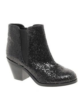 Image 1 ofFaith Sepia Black Glitter Ankle Boots