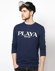 ASOS Playa Printed Crew Neck Sweat