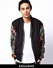 Reclaimed Vintage Varsity Jacket with Floral Sleeves