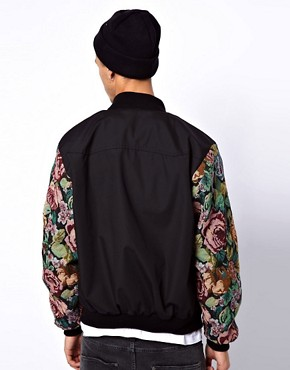 Image 2 ofReclaimed Vintage Varsity Jacket with Floral Sleeves