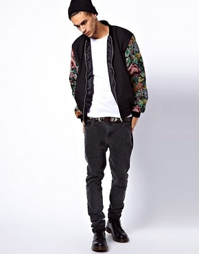 Image 4 ofReclaimed Vintage Varsity Jacket with Floral Sleeves