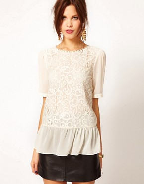 Image 1 ofWarehouse Lace Front Peplum Top