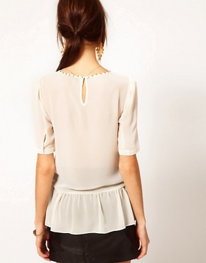 Image 2 ofWarehouse Lace Front Peplum Top