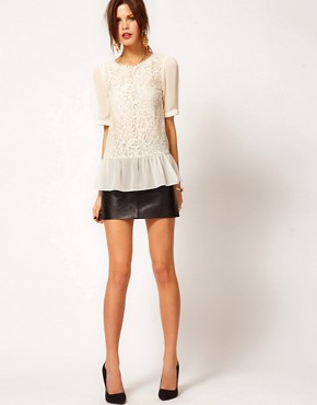 Image 4 ofWarehouse Lace Front Peplum Top