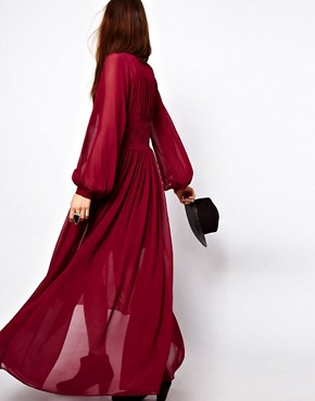 Image 3 ofASOS PETITE Maxi Dress With Embroidered Waist Panel