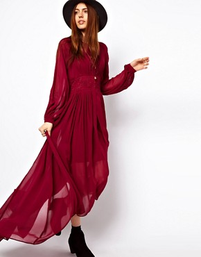 Image 4 ofASOS PETITE Maxi Dress With Embroidered Waist Panel