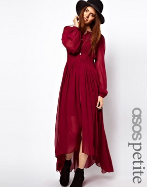 Image 1 ofASOS PETITE Maxi Dress With Embroidered Waist Panel