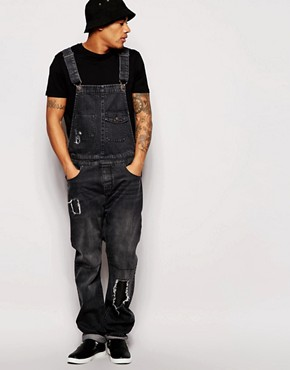 ASOS Denim Dungarees in Washed Black With Patches