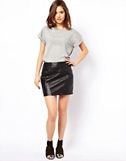 Urban Code Leather Mini Skirt With Perforated Panels