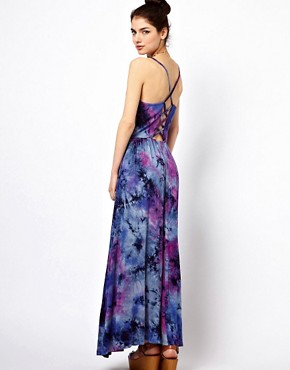 Image 1 ofPaprika Tie Dye Maxi Dress with Lattice Back