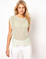 ASOS Tabard Vest With Allover Embroidery And Lace Trim