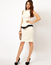 Vesper Peplum Pencil Dress with Contrast Trim