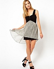 Wal G Dress With Heart Print Skirt