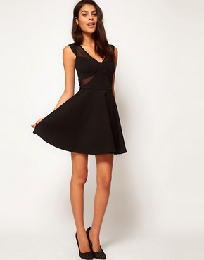 Image 4 ofASOS Skater Dress With Mesh Inserts