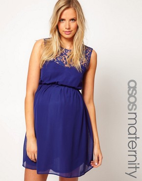Image 1 ofASOS Maternity Skater Dress With Lace Back
