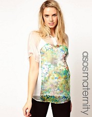 ASOS Maternity Blouse With Inserted Floral Panel