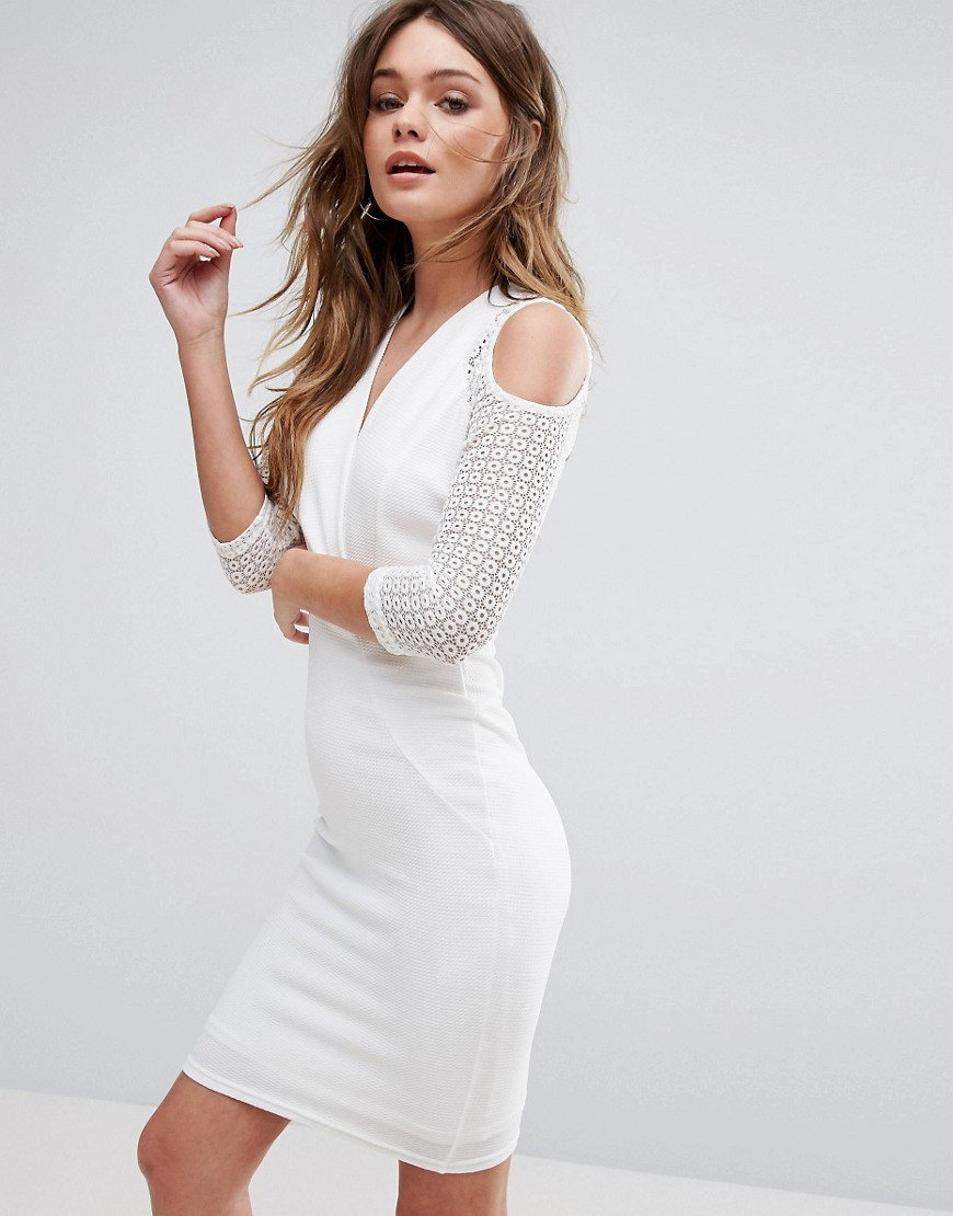 TFNC Wrap Cold Shoulder Dress - White