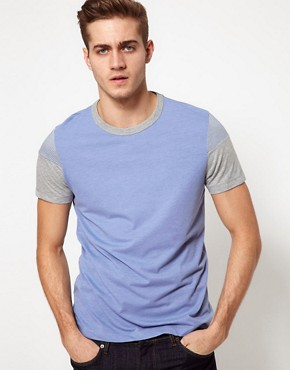 Image 1 ofASOS T-Shirt With Cut And Sew Stripe Sleeves