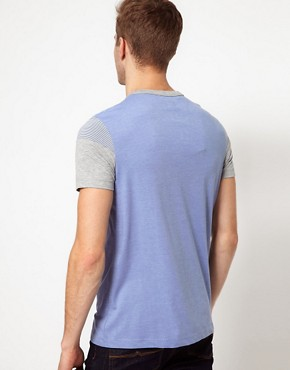 Image 2 ofASOS T-Shirt With Cut And Sew Stripe Sleeves