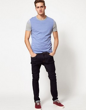 Image 4 ofASOS T-Shirt With Cut And Sew Stripe Sleeves