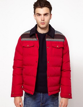 Image 1 ofASOS Quilted Jacket With Fairisle Trim
