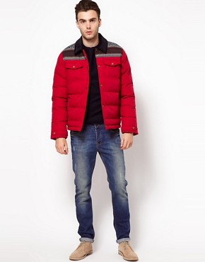 Image 4 ofASOS Quilted Jacket With Fairisle Trim