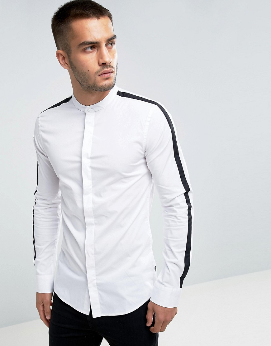 Only & Sons Skinny Smart Shirt With Cut And Sew Arm Detail - White