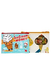 "Blue Q - Conferzione di borsellini con scritta ""Ice Cream Money"" e ""My Treat"""