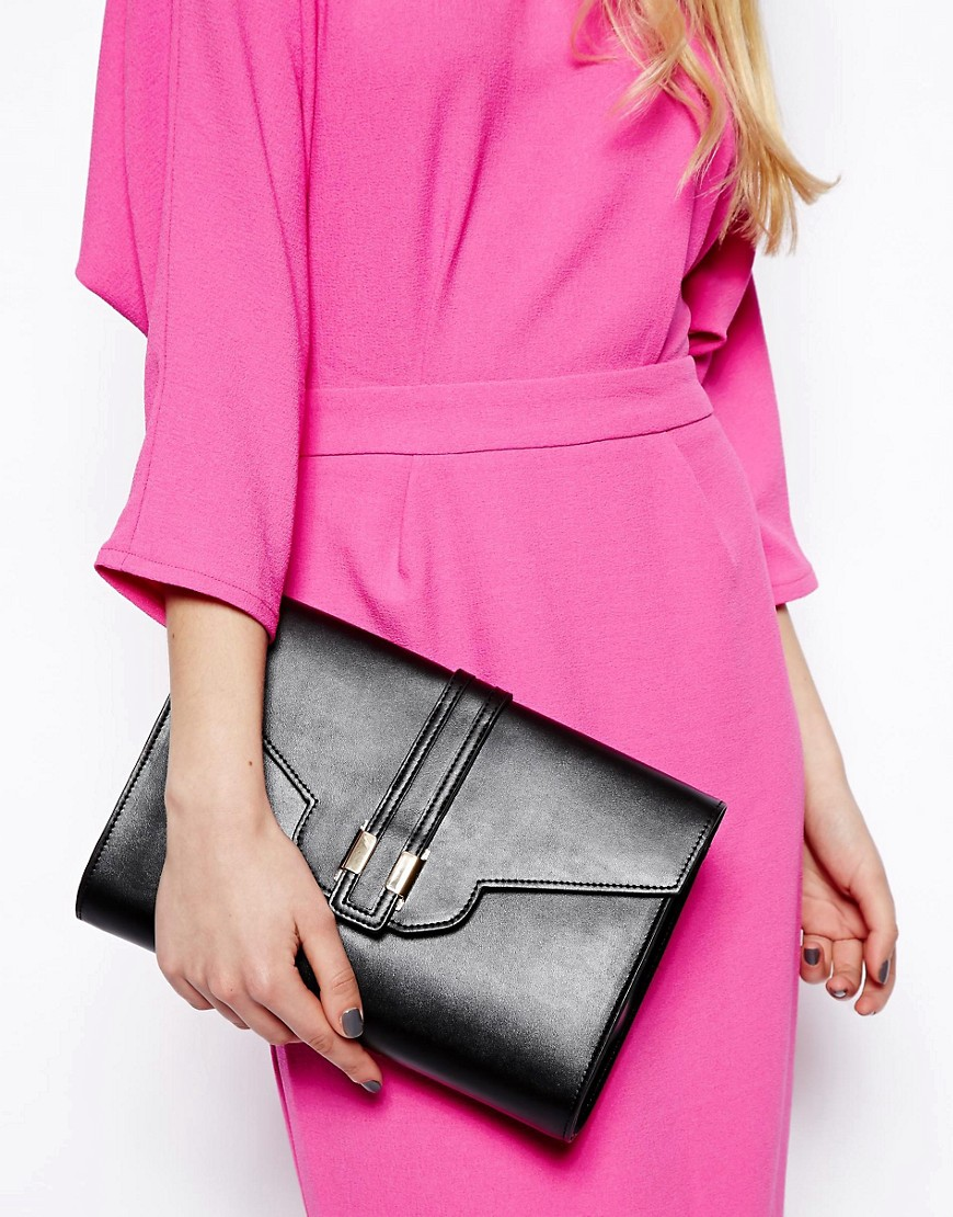 Image 3 ofASOS Front Strap Clutch Bag with Metal Tab