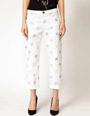 Current/Elliot Star Print Boyfriend Jeans