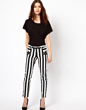 Image 1 ofWarehouse Bold Stripe Skinny Trouser