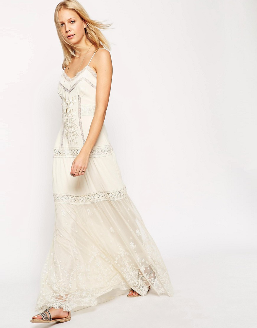 ASOS Premium Strappy Maxi Dress with Lace Inserts and Embroidery - Cream $120.00 AT vintagedancer.com